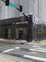 Ice day in downtown Nashville at the intersection of Rosa L Parks Avenue and Rosa L Parks Boulevard.