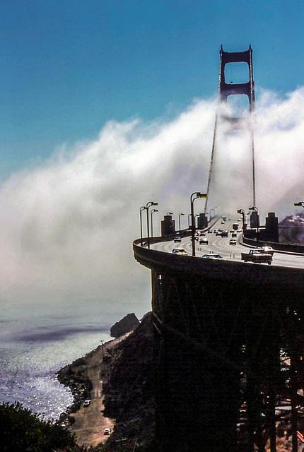 Fog rolling in - Golden Gate, Sept. 1978 (180°)