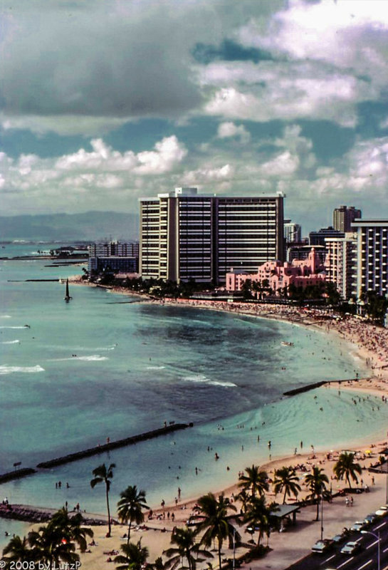 Waikiki Beach with the old Royal Hawaiian Hotel (The Pink Palace of the Pacific) 1980 (330°)