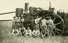 North Dakota Threshing Crew with Steam Engine