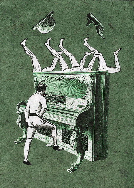 Solo for dancing-legs-harmonium with bowler hat and duchess shoe