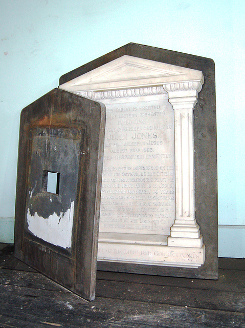 Memorial to John Jones Collins from St Nathaniel, Oliver St, Liverpool which was demolished c1993, now at Saint Bride's Percy Street, Liverpool