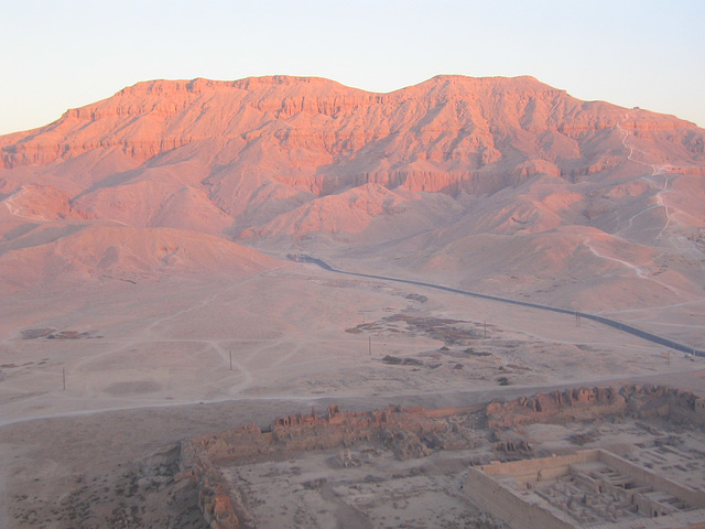The west bank of the Nile at sunrise