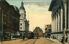 Granville Street showing Post Office, C.P.R. Depot, and Bank of Commerce, Vancouver, B.C. [105,701]