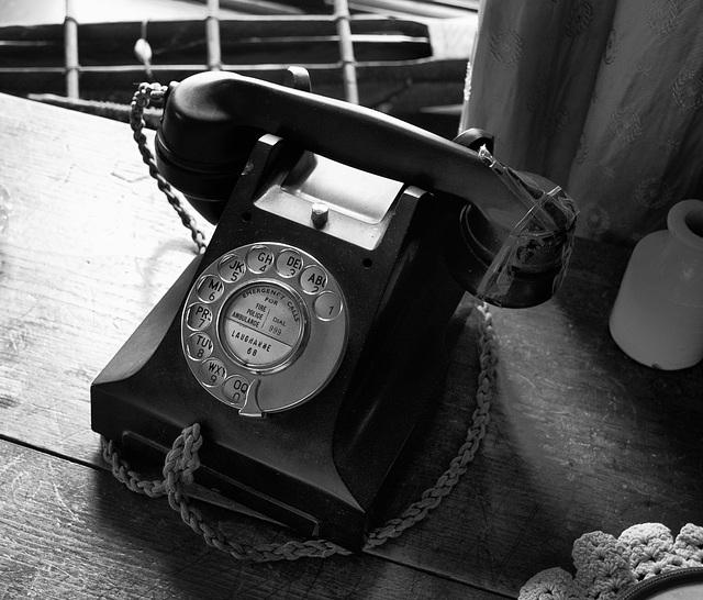 The sloeblack, slow, black, crowblack telephone