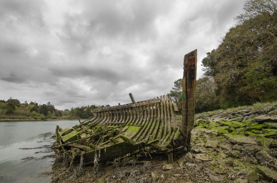 Bénodet, squelette sur la rive