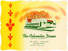 Columbia Diner Place Mat, Route 30, Columbia, Pa.