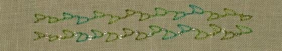 ## 106 and 107, Cretan Looped and Beaded Cretan Looped stitches