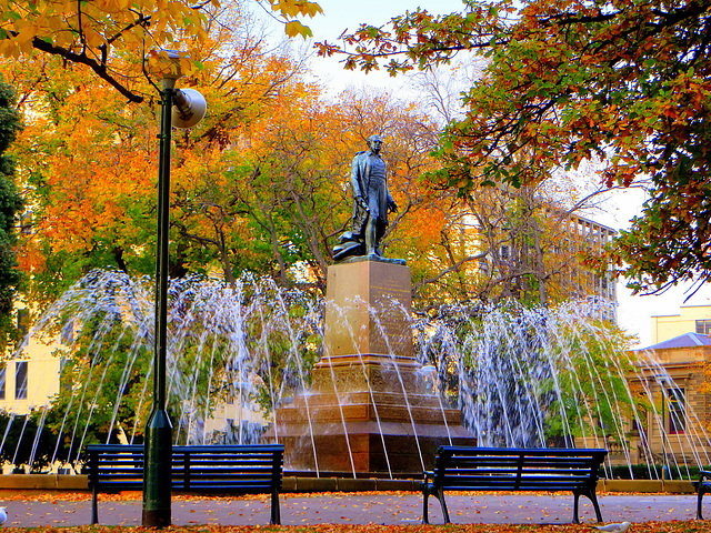 majestic fountain in franklin square, hobart, tasmania.....a statue of governor sir john franklin.