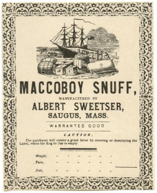 Maccoboy Snuff, Albert Sweetser, Saugus, Mass.