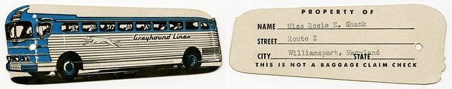 Greyhound Lines Luggage Tag