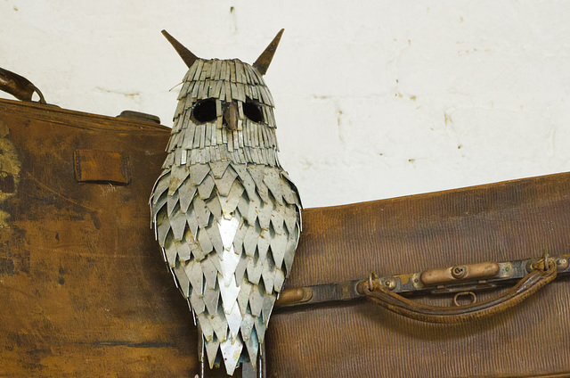 Metal Owl Sculpture, with Suitcases