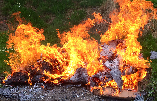 Burning old cartons