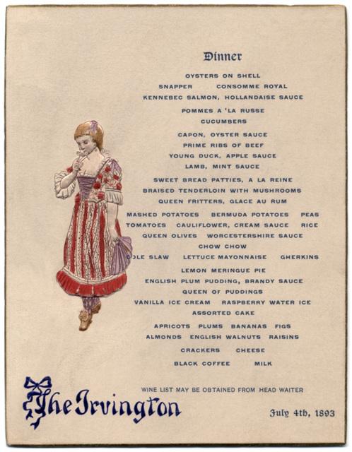 Dinner Menu, The Irvington, Atlantic City, N.J., July 4, 1893