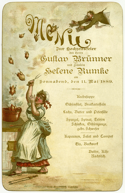 Wedding Menu for Gustav Brünner and Helene Rumke, May 11, 1889