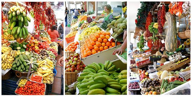 Funchal. Mercado dos Lavradores.  Obst, Gemüse, Südfrüchte... ©UdoSm