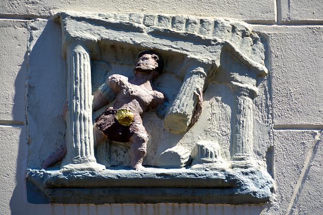 Stone depicting Samson destroying the Temple of Dagon