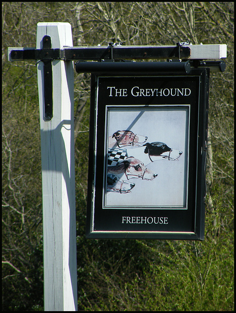 boring Greyhound pub sign