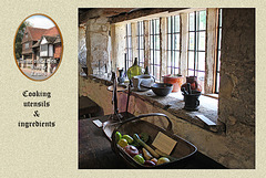 Anne of Cleves' house - cooking utensils & ingredients  - Lewes - 23.7. 2014