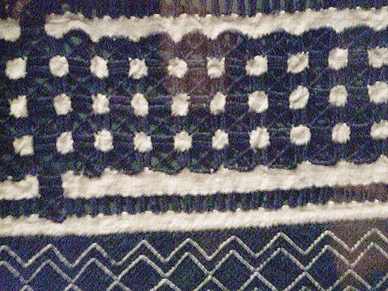 blue stitching detail