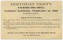 Birthday Party, Parryville Methodist Church, Feb. 18, 1896