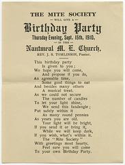 Birthday Party, Nantmeal M. E. Church, Sept. 15, 1910