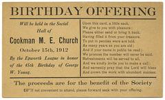 Birthday Offering, Cookman M. E. Church, Oct. 15, 1912