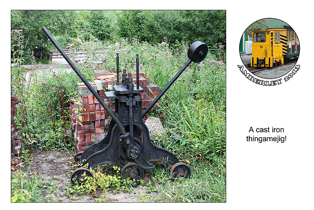 Cast iron thing with wheels and press  - Amberley - 29.8.2013