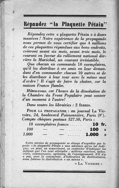 C'est Pétain qu'il nous faut - 1936 - dernière page
