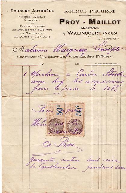 en 1931, quand les tranformateurs de bicyclettes en vendaient, les machines à coudre coûtaient 1085 francs