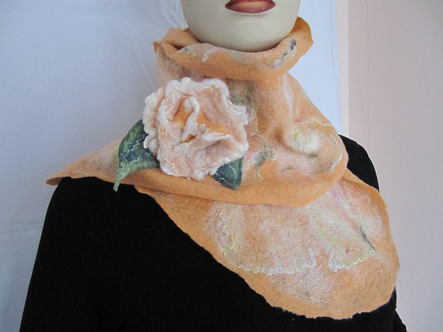 felted shawl - apricot