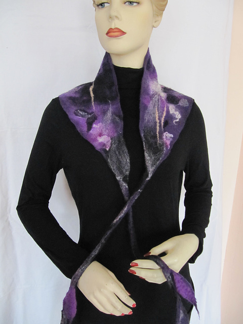 felted shawl - purple
