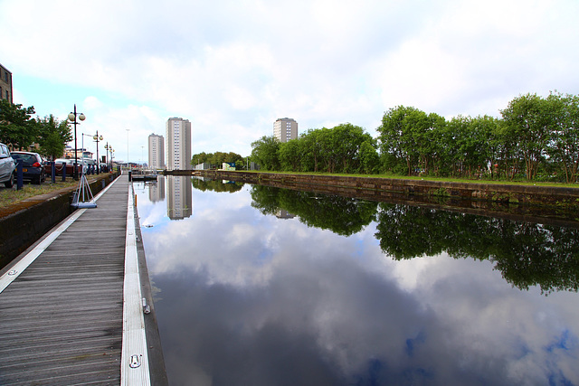 The Canal bank quay at Speirs Wharf with Glasgow City skyline behind