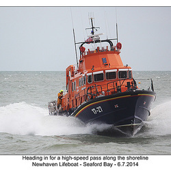 Heading in at high speed  - RNLI & Coastguard Joint Exercise - Seaford Bay - 6.7.2014