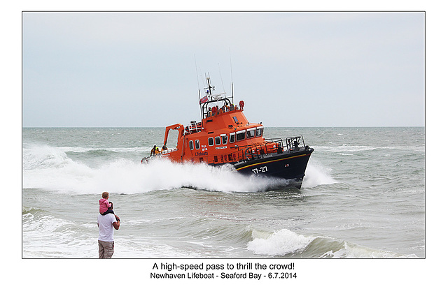 High speed pass  - RNLI & Coastguard Joint Exercise - Seaford Bay - 6.7.2014