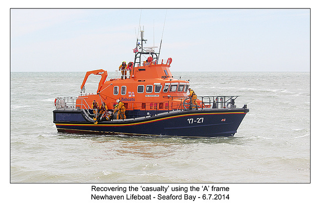 Hoisted aboard with A frame - RNLI & Coastguard Joint Exercise - Seaford Bay - 6.7.2014