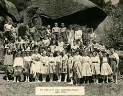 Schoolchildren at Devil's Den, Gettysburg, Pa., May 1959