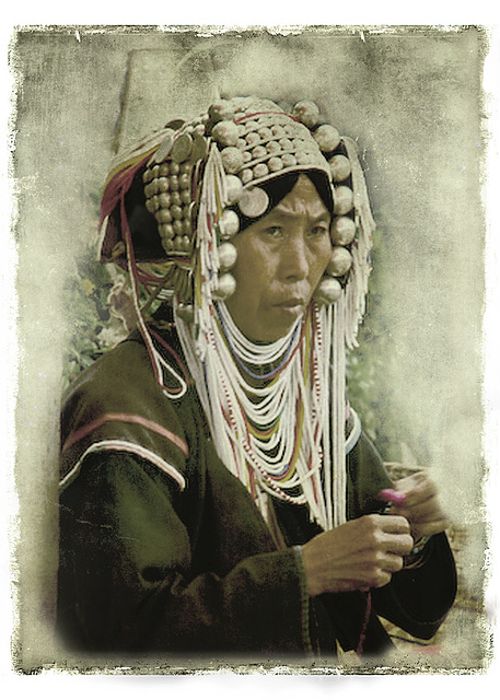 Akha woman in tribal headdress