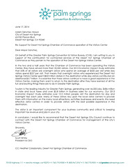 Letter in support of funding the Visitor Center