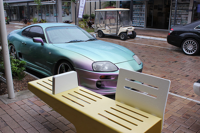 Yellow Bench and Pearlescent Car