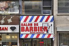 Salon de Barbier Sainte-Catherine – Saint Catherine Street near Bleury, Montréal, Québec
