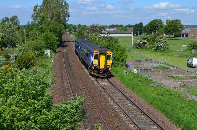 Southbound Class 156 DMU Leaving Annan For Carlisle