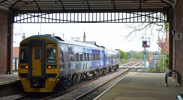 Class 158 Leaving Filey For Scarborough