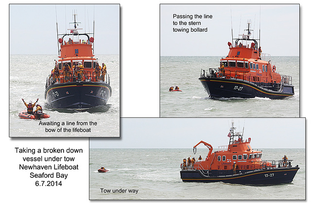 Rescuing a broken down craft - RNLI & Coastguard Joint Exercise - Seaford Bay - 6.7.2014