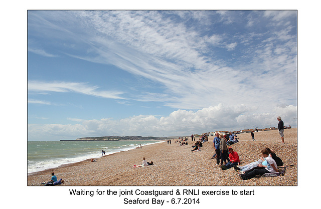 Waiting for the lifeboat - RNLI & Coastguard Joint Exercise - Seaford Bay - 6.7.2014