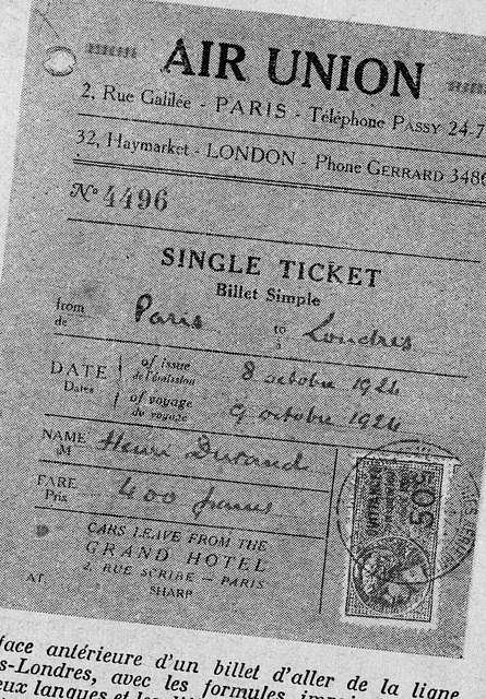 un des tout premiers billets d'avion, 1925 !