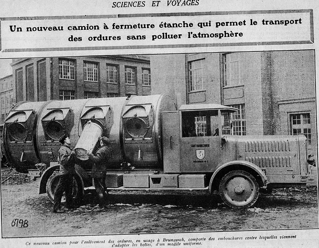 les premiers camions à poubelles modernes