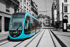 BESANCON: Essai du Tram avenue Fontaine Argent.