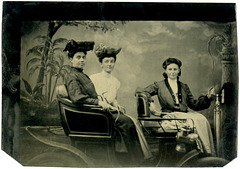 Tintype of Three Women in an Early Automobile