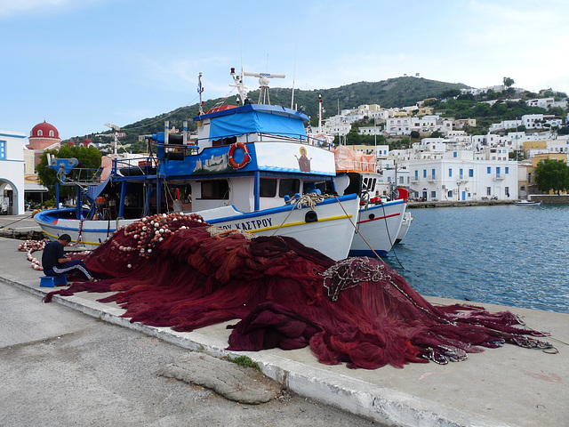 Mending the Nets at Agia Marina, Leros